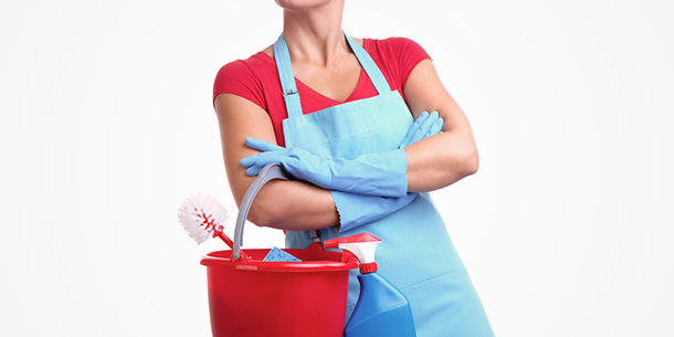 Cleaning Woman Holding a Bucket of Supplies
