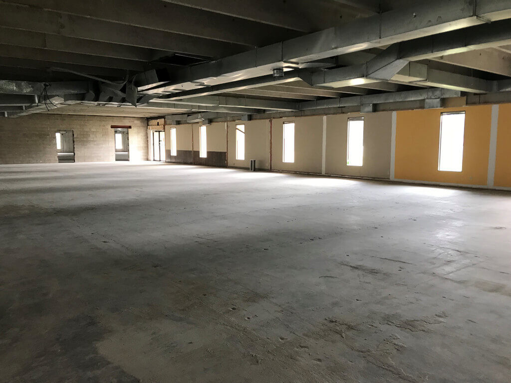 Empty room inside storage facility being constructed